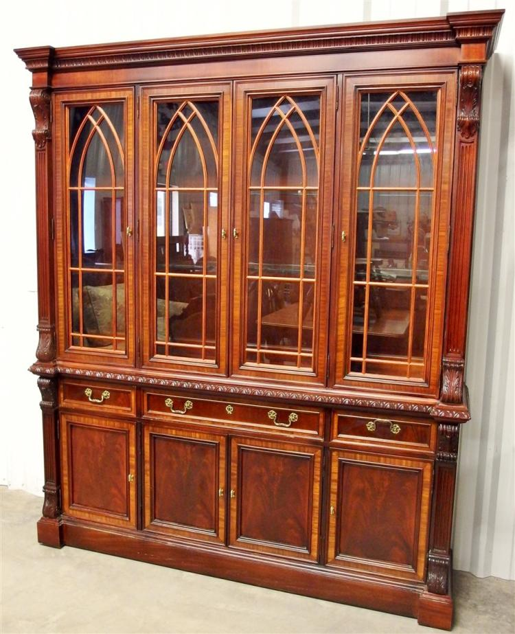 Mahogany China Cabinet with Carved Columns by Hickory Chair Co. NC.
