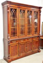 Lot 58: Mahogany China Cabinet with Carved Columns by Hickory Chair Co. NC.
