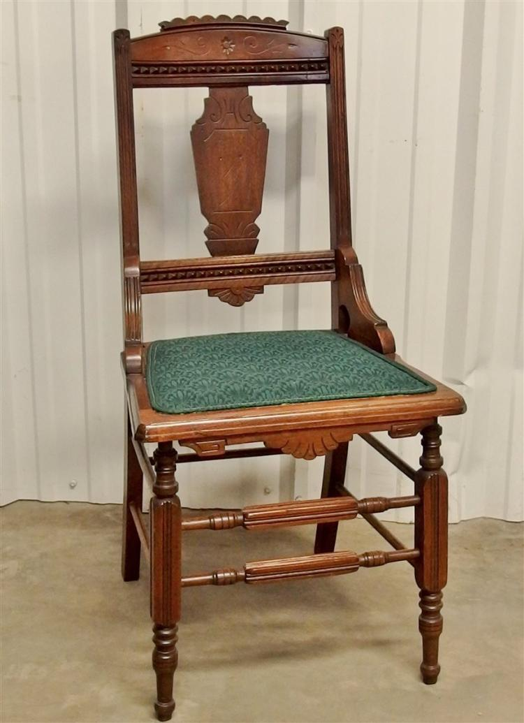 Eastlake Walnut Side Chair with Hip Rests, 38H