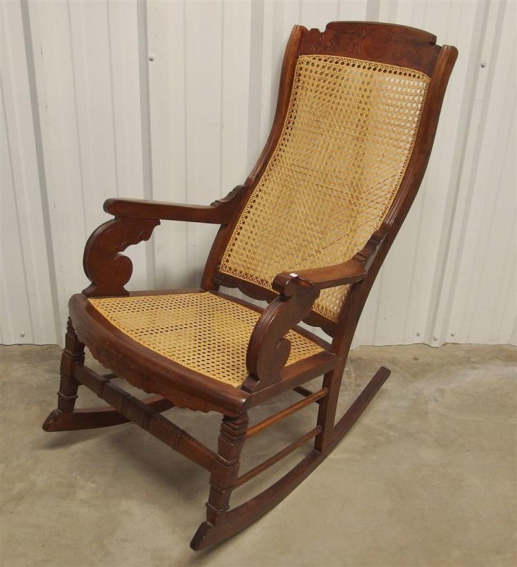 Eastlake Cane Rocker with High Curved Back, New Caning