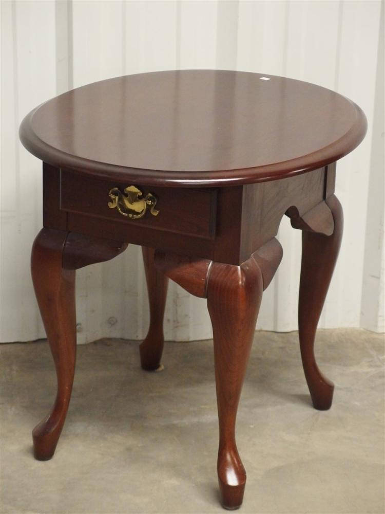 Mahogany Oval End Table, One drawer