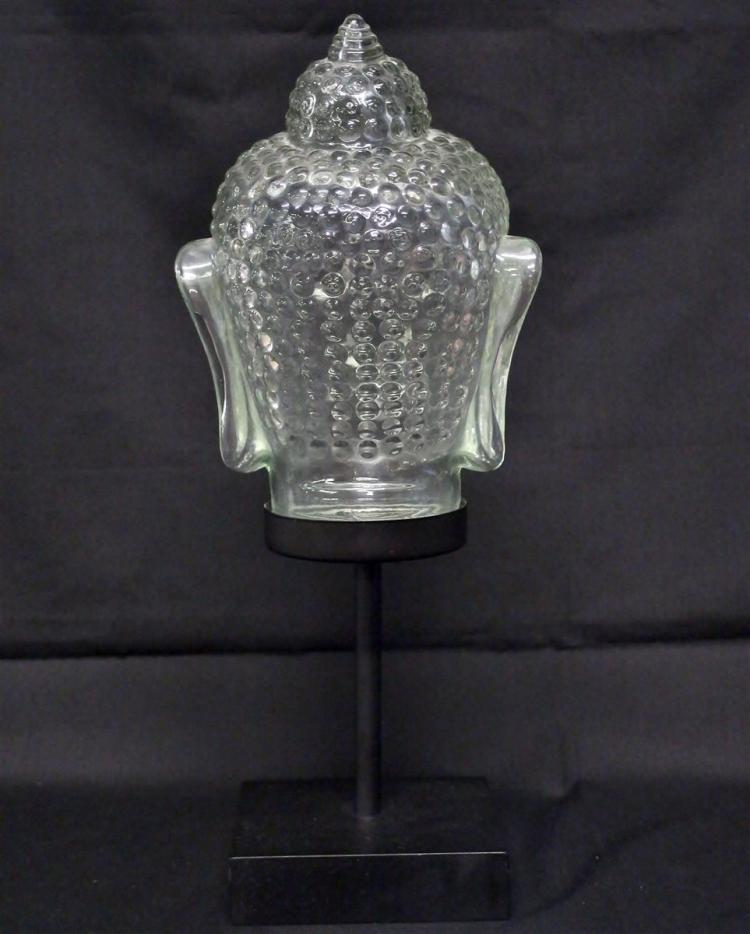 Lot 68: Glass Buddha Bust on Stand, 15H