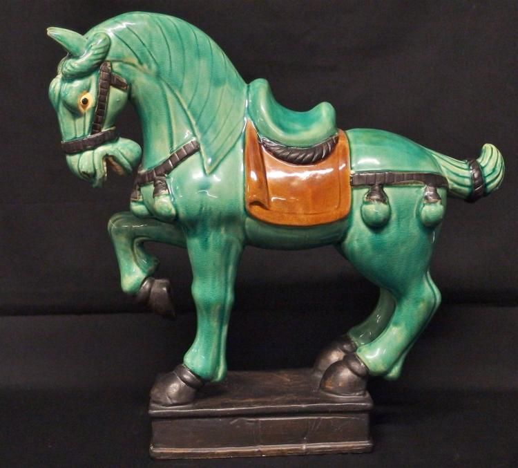 Asian Style Ceramic Horse, 13H