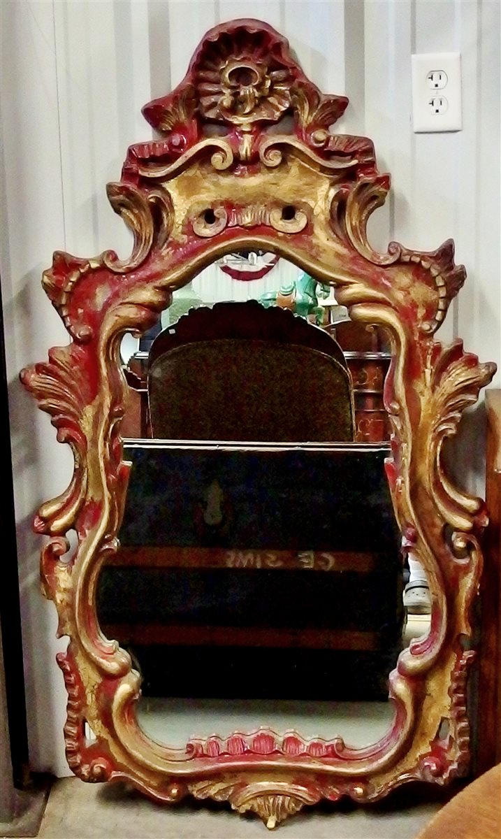 Serpentine Mirror, Red with Gold Accents, 52 x30
