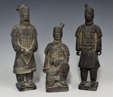 Lot 78: Lot of 3 - Terracotta Chinese Warriors, 10H