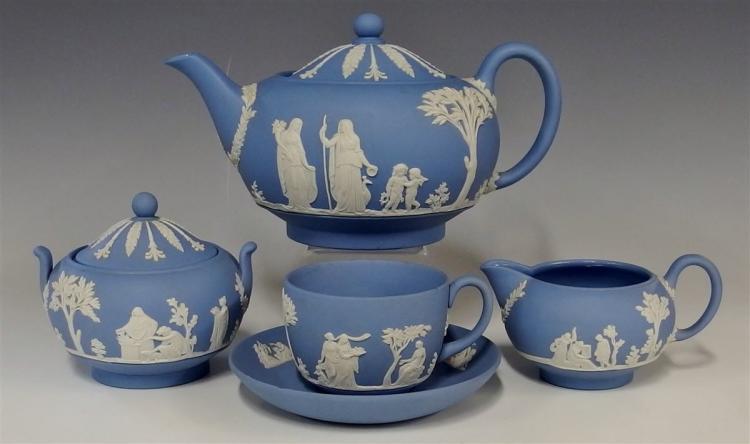 Wedgwood Blue Jasperware Teapot, Creamer, Sugar, Teacup & Saucer