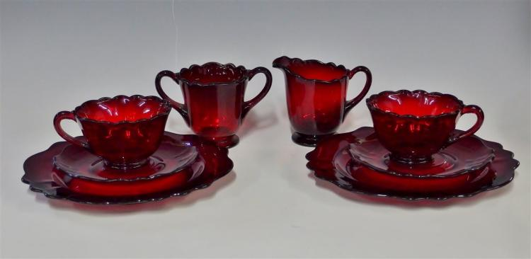 8pc. Set of Vintage Ruby Glass