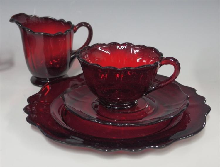 Lot 83: 8pc. Set of Vintage Ruby Glass