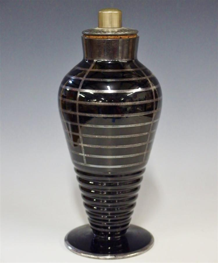 Art Deco Black Glass Shaker with Silver Overlay, 12H