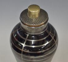 Lot 84: Art Deco Black Glass Shaker with Silver Overlay, 12H