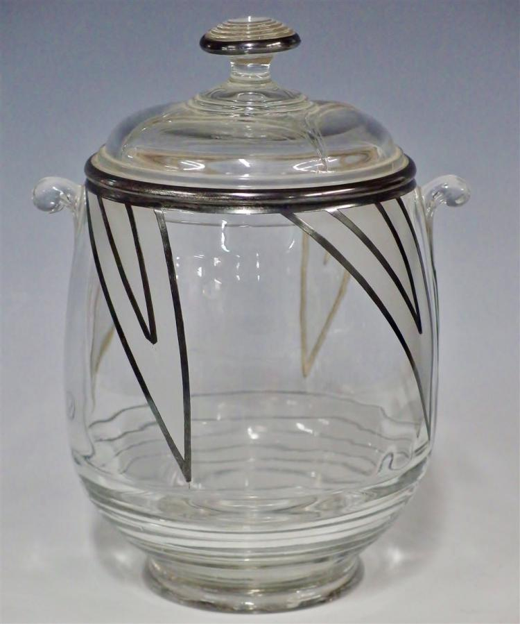 Art Deco Ice Bucket with Frosted Glass & Silver Overlay, 8H