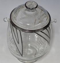Lot 85: Art Deco Ice Bucket with Frosted Glass & Silver Overlay, 8H
