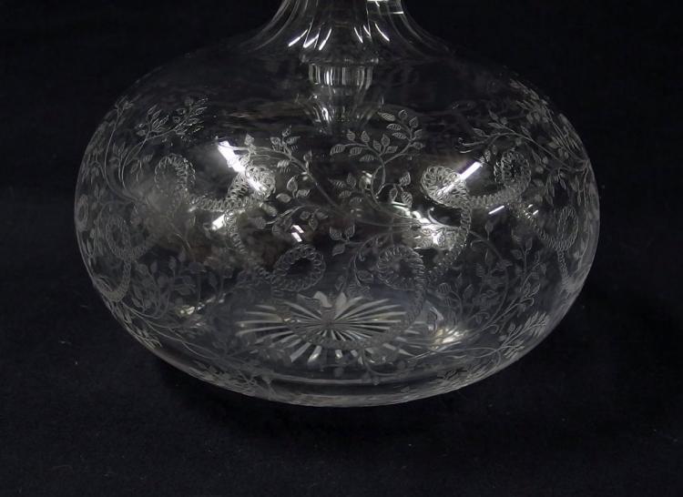 Lot 86: Elegant Crystal Etched Glass Decanter, 11H