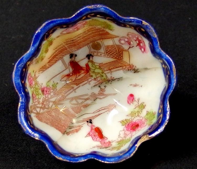 Lot 88: Vintage Japanese Geisha Ware, Cobalt Blue, Hand-decorated, Plate and Cup