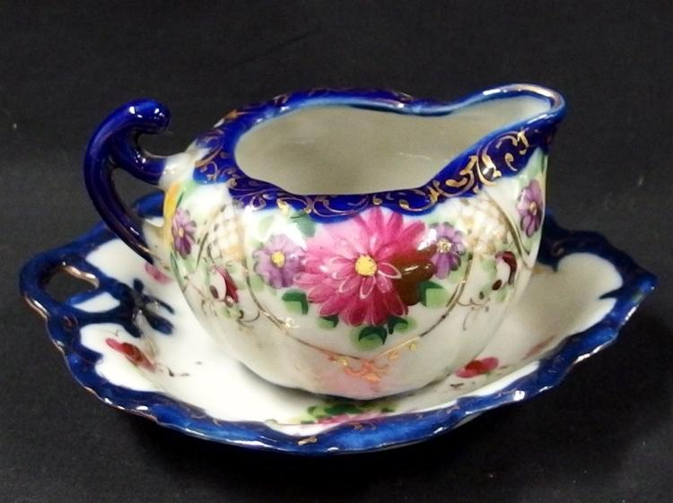 Vintage Japanese Geisha Ware, Cobalt Blue, Hand-decorated, Nut Dish & Creamer