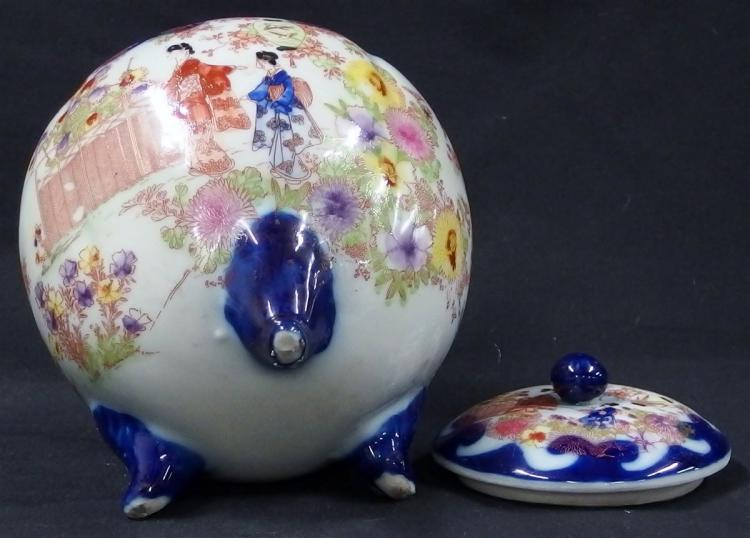 Lot 90: Vintage Japanese Geisha Ware, Cobalt Blue, Hand-decorated, Ginger Jar