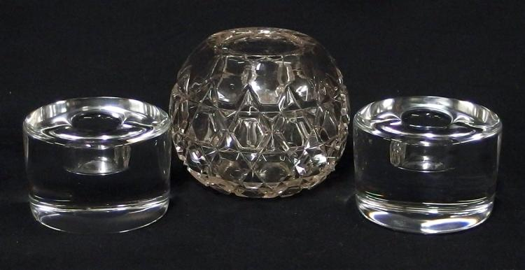 Crystal Candleholders, Rose Bowl