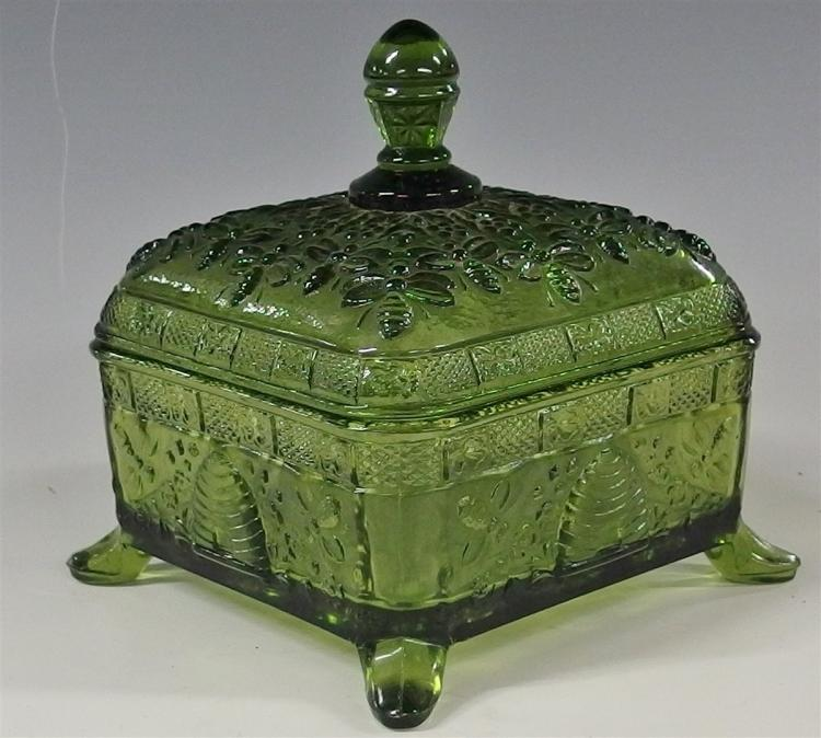 Indiana Tiara Green Covered Candy Dish, Honey Bees, Splayed Legs 6H