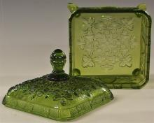 Lot 94: Indiana Tiara Green Covered Candy Dish, Honey Bees, Splayed Legs 6H