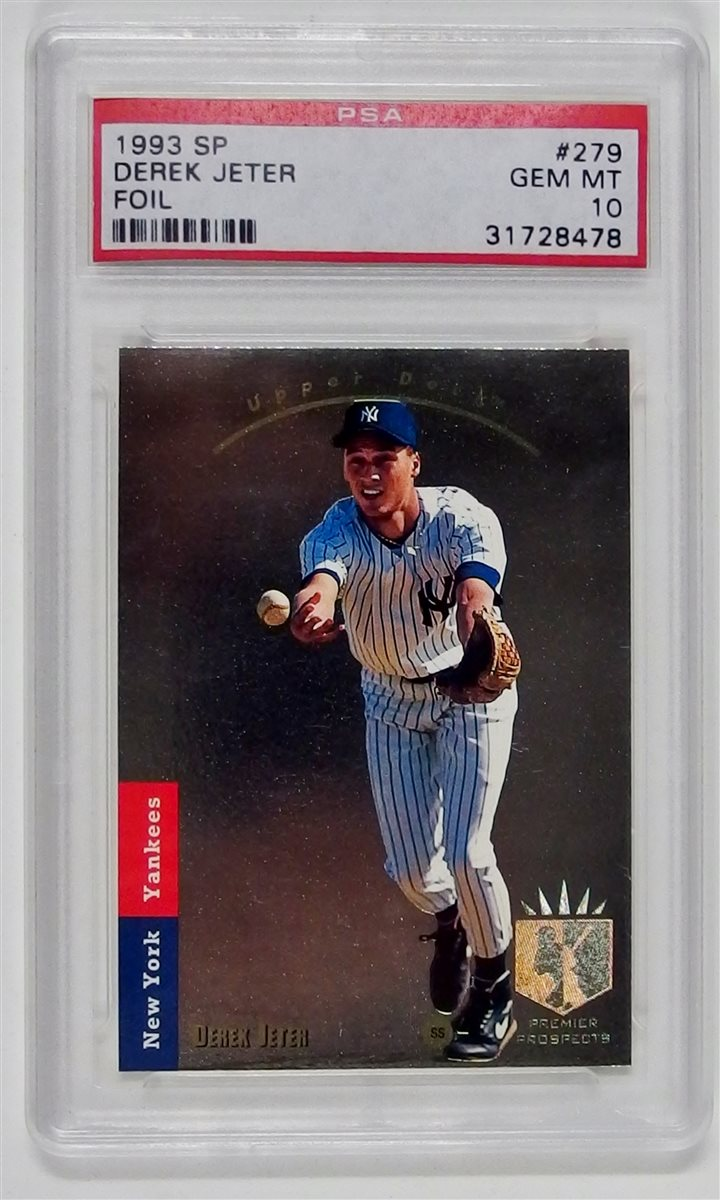 1993 Topps Derek Jeter Foil Baseball Card PSA Slab, Graded 10