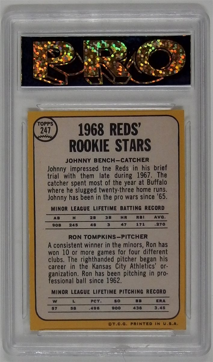 Lot 102: 1968 Topps Bench / Tompkins Rookie Stars Baseball Card, Pro Slab, Graded 10