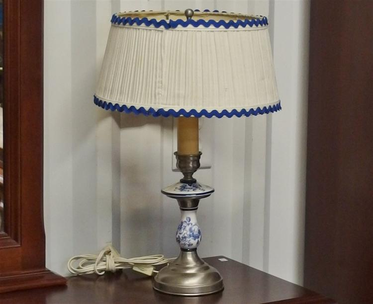 Vintage Blue & White Lamp, 16H
