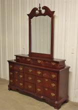 Lot 109: Mahogany 9-Drawer Dresser with Mirror, 2 Drawer Top