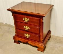Lot 111: Lexington Mahogany 3-Drawer Night Stand, Solid wood