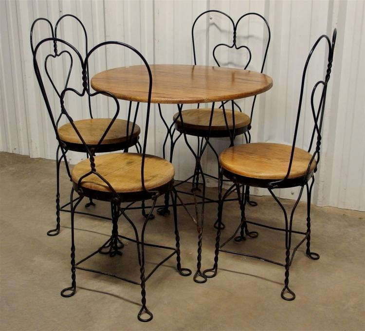 Vintage Ice Cream Parlor Set, Table & 4 Chairs, Wrought Iron & Wood