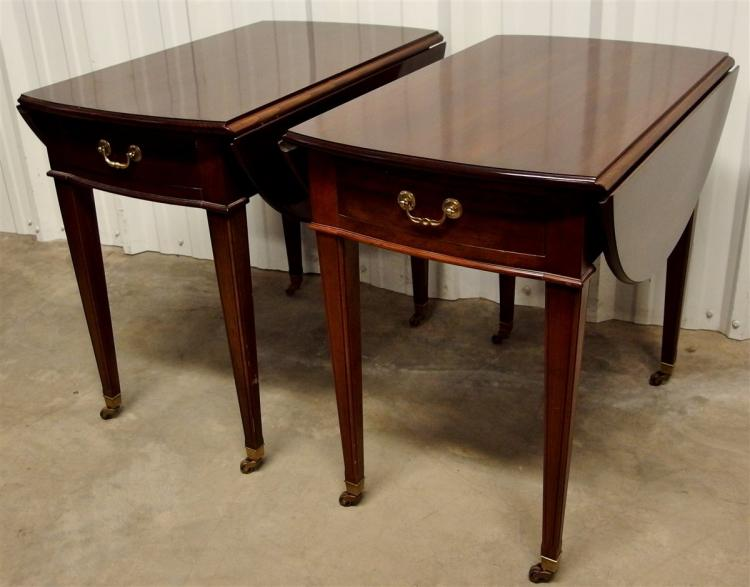 Pair of Ethan Allen Mahogany Drop Leaf Tables
