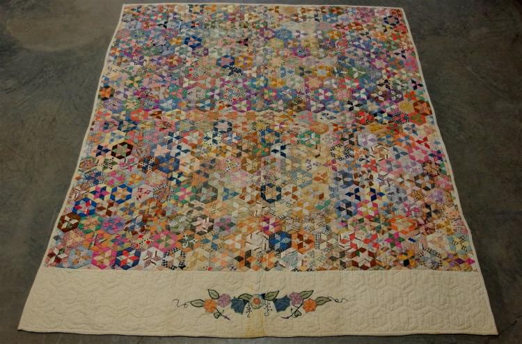 Antique Tumbling Blocks and Star Quilt with Applique Top Border 81x69
