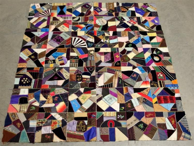 Vintage Crazy Quilt Top with Embroidered Velvet and Silk, Handstitched 62x72