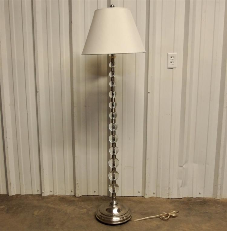 Modern Floor Lamp with Graduated Glass Ball Column, 60H