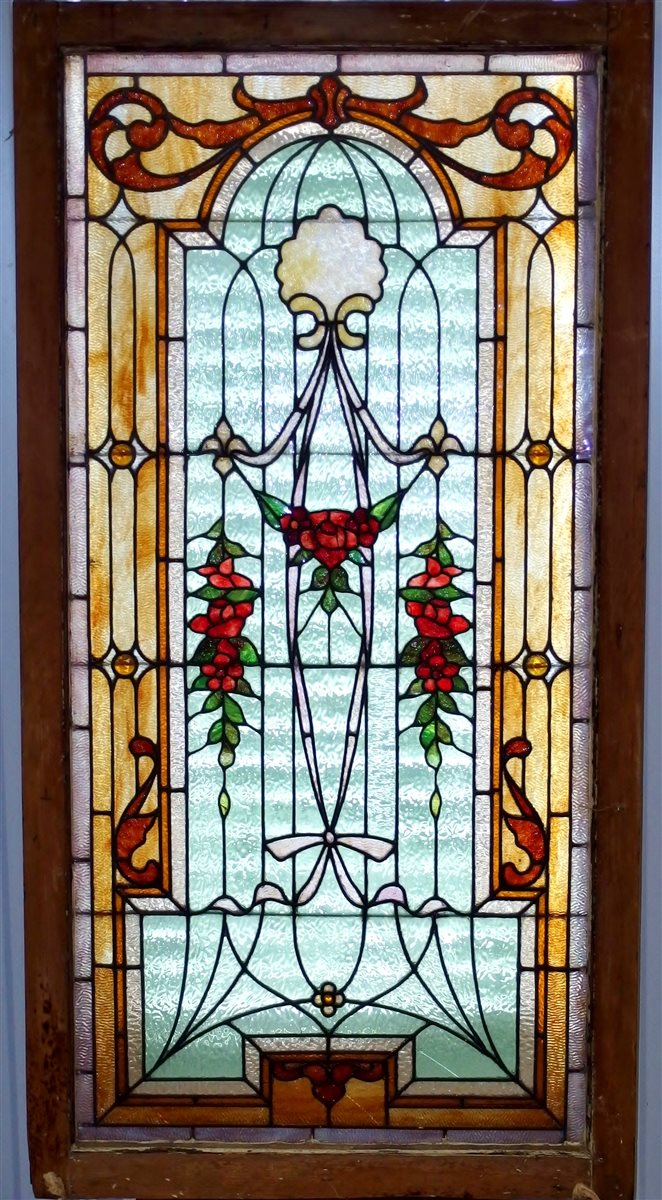Antique Leaded Stained Glass Window 54 x 27-3/4