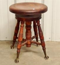 Lot 125: Antique Piano Stool with Glass Ball & Claw Foot