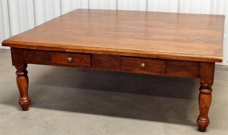Large Square Wooden Coffee Table, 2 Drawers 54 x 55