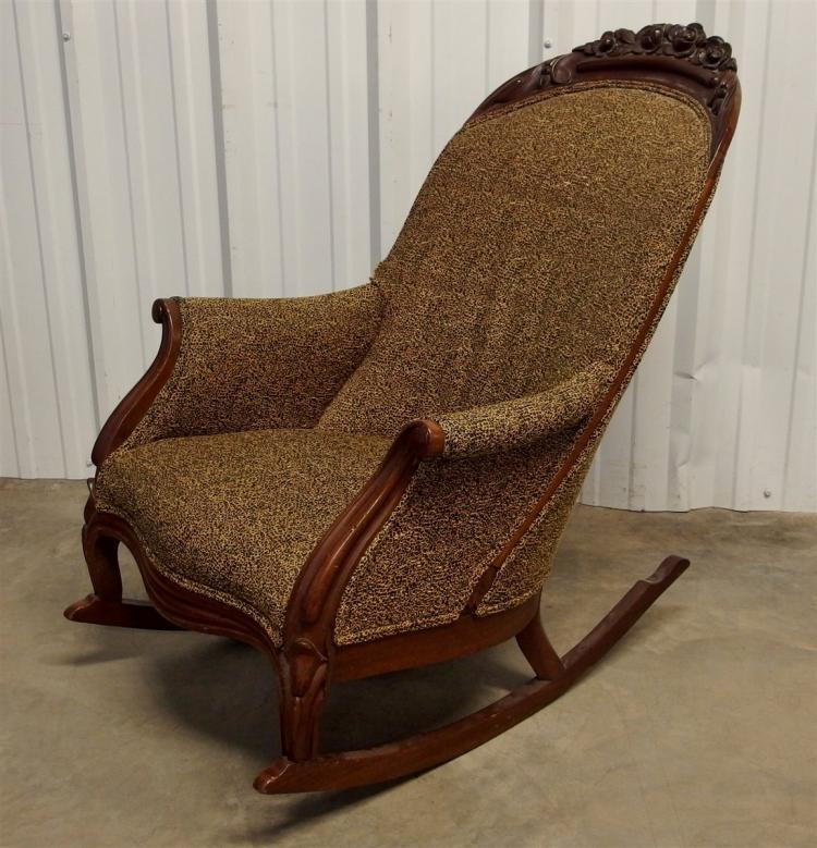 Antique Walnut Carved Upholstered Rocker