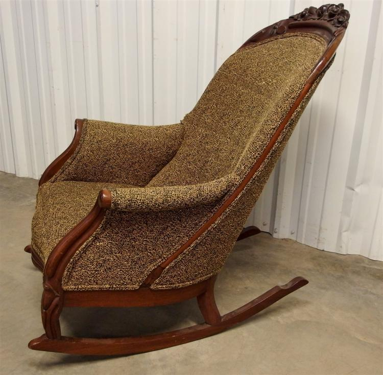 Lot 131: Antique Walnut Carved Upholstered Rocker