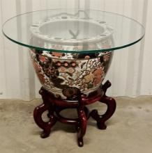 "Lot 132: Hand Painted 14""D Chinese Porcelain Fish Bowl With Imari Floral Design, Glass Top & Stand"