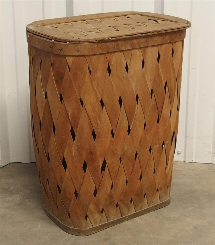 Vintage Split Oak Basket with Hinged Top, 20H