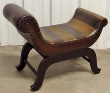 Lot 134: Leather Bench Seat, Two-tone, Brass Studded