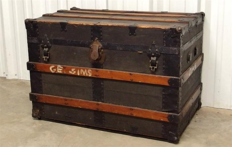 Antique Large Flat-top Steamer Trunk, Cast Iron Hardware, Wooden Slats