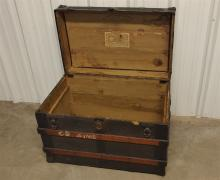 Lot 136: Antique Large Flat-top Steamer Trunk, Cast Iron Hardware, Wooden Slats
