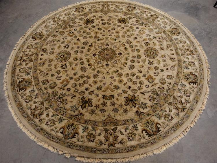 Beige & Brown Round Rug, 8'3D