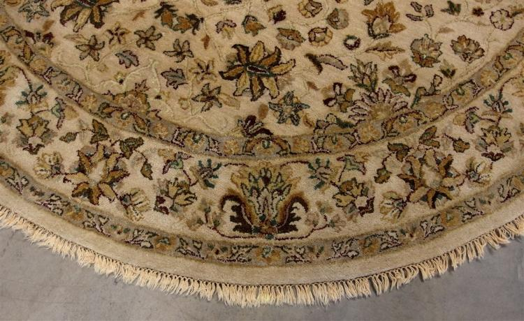 Lot 137: Beige & Brown Round Rug, 8'3D