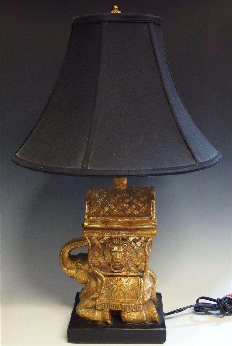 Cast Elephant Lamp with Gold Finish, Black Shade, 29H