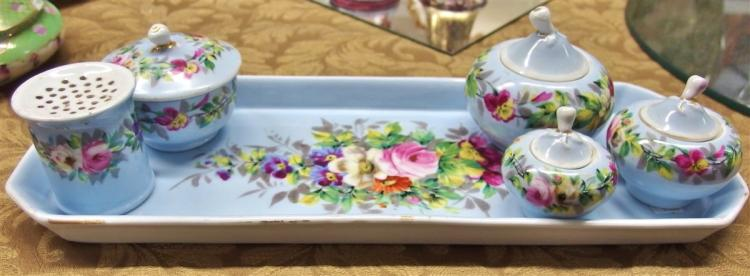 Antique Porcelain Hand-decorated 6 pc. Vanity Dresser Tray Set, 14L
