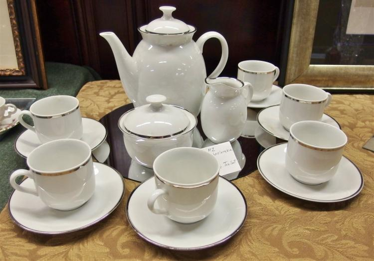 Ca. 1900 MZ Czechoslovakia  15pc. Tea Set, 'Corinna 70150' White with Platinum Band