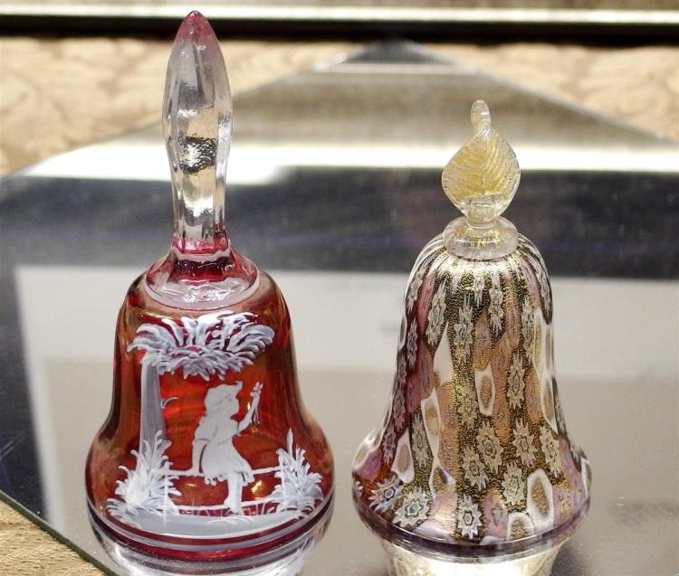Lot of 2 - Mary Gregory Cranberry Bell, 5H - Gold Millefiori Bell, 4-1/2H