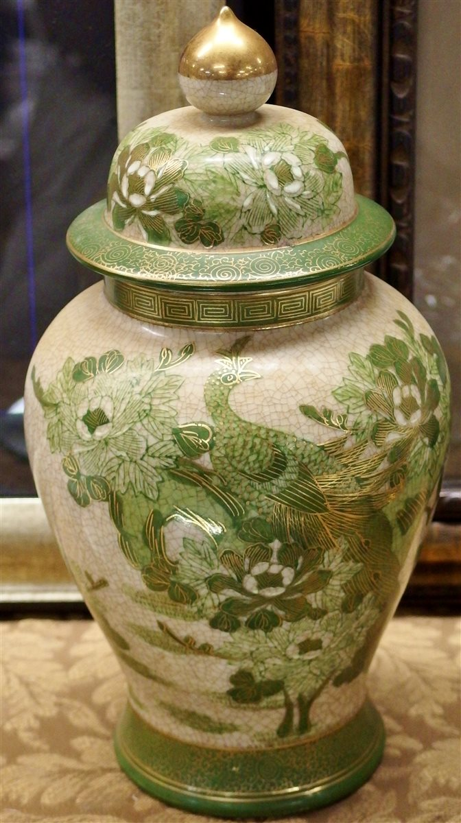 Lot 147: Vintage Genuine Kutani Japanese Baluster Ginger Jar, Green Peacock, 13H